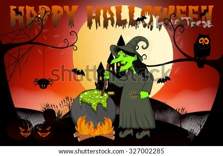 Witch cooking, Castle And Full Moon Vector Illustration for Happy Halloween