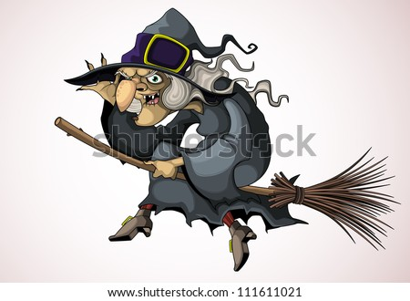 Witch flying on a broom - stock vector