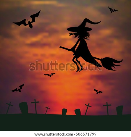 witch flying on a broom against the sunset over the cemetery. halloween background. vector