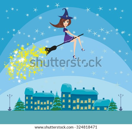 Witch flying over the city - stock vector