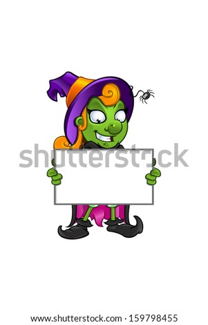 Witch - Grinning Holding A Board - stock vector