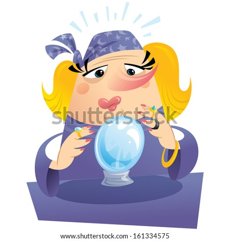 Witch gypsy clairvoyant looking to a crystal sphere telling fate and destiny - stock vector