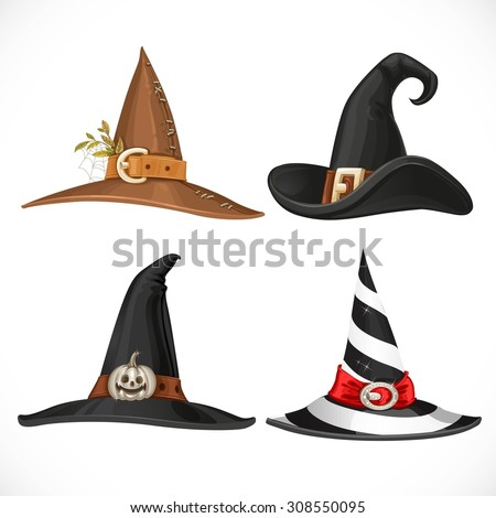 Witch hat with straps and buckles isolated on white background - stock vector