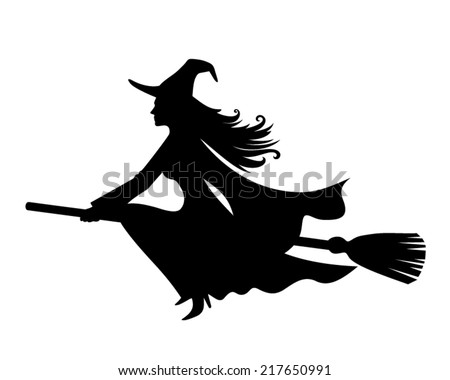 Witch on a broomstick. Vector black silhouette. - stock vector