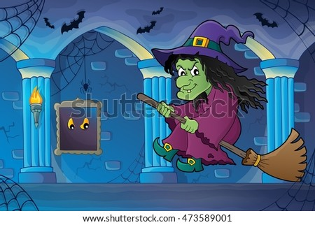 Witch on broom theme image 6 - eps10 vector illustration.