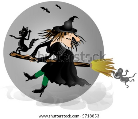 Witch on broom with black cat and mouse. Vector.