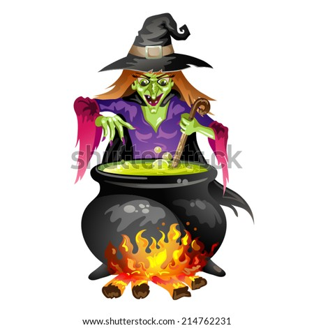 Witch preparing a potion  - stock vector
