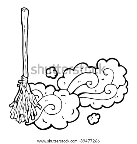 witch's broom sweeping up - stock vector