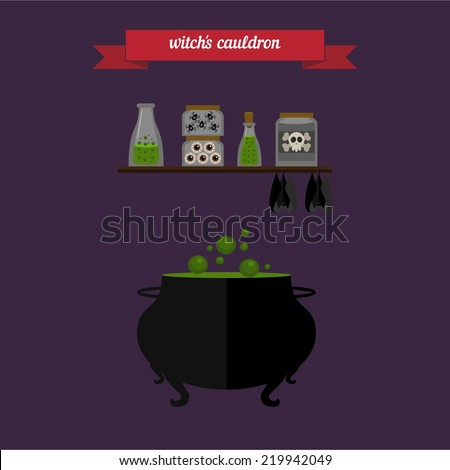 Witch's cauldron. Flat style design - vector - stock vector