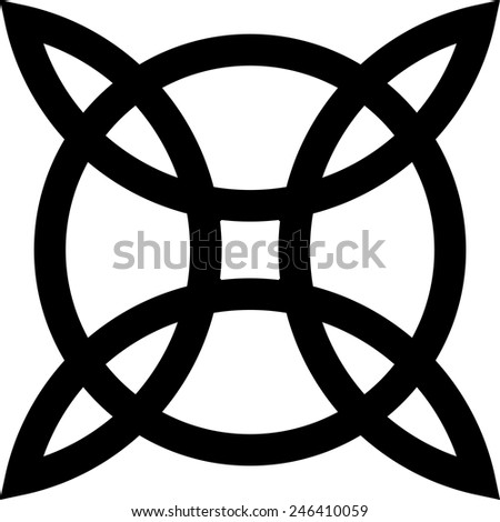 Witch`s Knot, Wicca, Power of four elements - stock vector