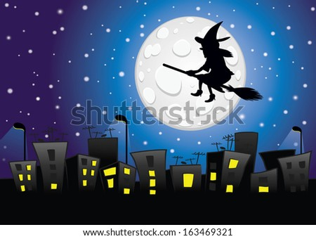 Witch silhouette flying over the city-transparency blending effects and gradient mesh-EPS 10 - stock vector