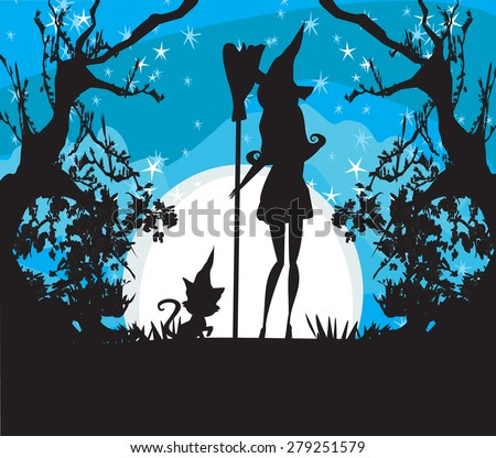 witch with a broom and a cat  - stock vector
