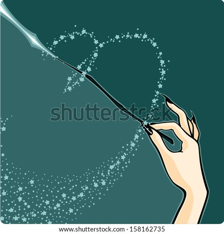 Witch with a magic wand - stock vector