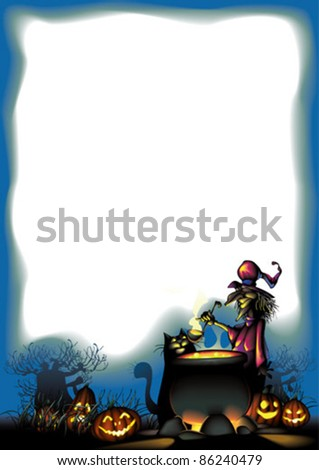 Witch with cat are preparing  for Halloween - stock vector