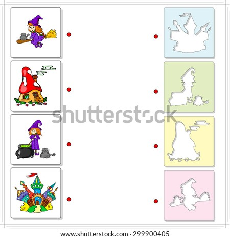 Witch with cauldron and cat, witch on a broomstick, fairy mushroom house and multicolored castle. Educational game for kids. Choose the correct silhouettes on the opposite side and connect the points - stock vector