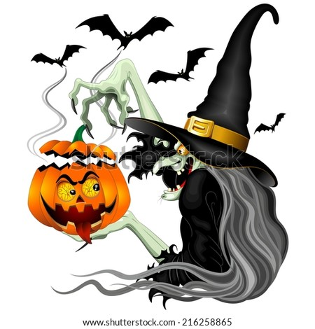 Witch with Jack O'Lantern and Bats - stock vector
