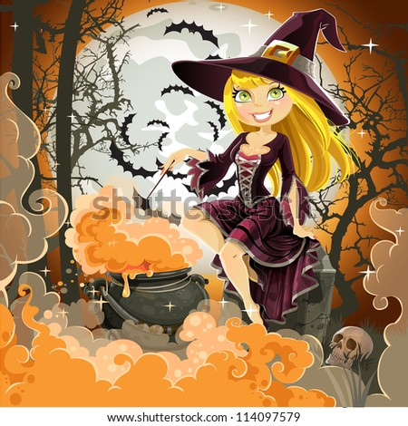 Witch with potion in the pot sits in the cemetery on Halloween night - stock vector