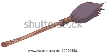 Witches broom stick. Old broom. Halloween accessory object. Isolated cartoon illustration - stock vector