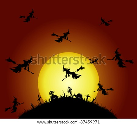 Witches fly on the cemetery, vector illustration