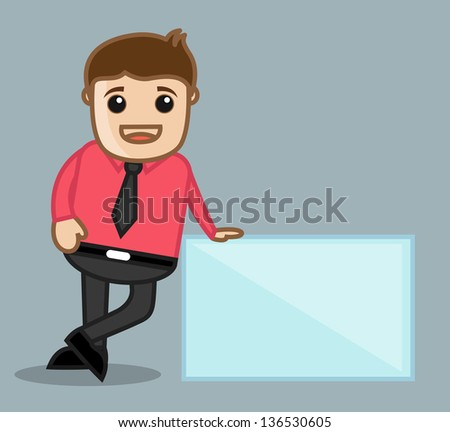 With Banner - Office and Business People Cartoon Character Vector Illustration Concept - stock vector