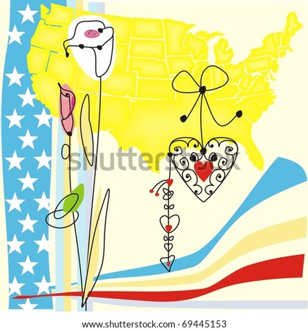With love from America - stock vector