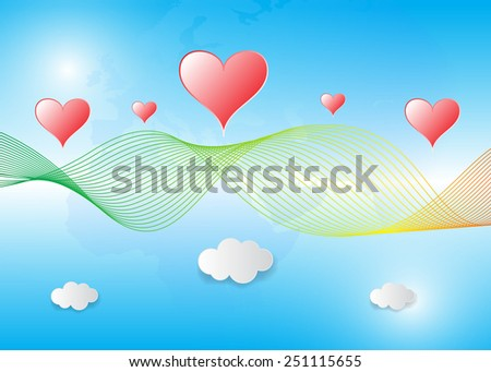 With mesh vector abstract blue background with bright red hearts and clouds. - stock vector