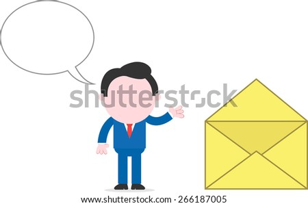 With speech bubble cartoon faceless businessman standing beside big mail icon - stock vector