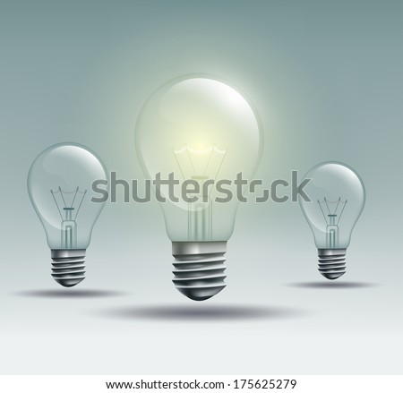 with the light bulb on a gray background - stock vector