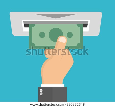 Withdraw money from ATM slot. Vector illustration in flat style - stock vector