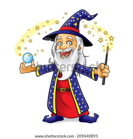 wizard is holding a crystal ball as he waved his magic wand and smiling happily - stock vector