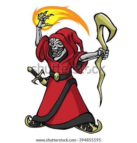 wizard necromancer - stock vector
