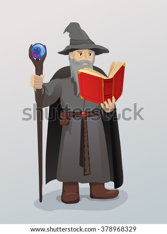 Wizard With Magic Wand and Book - stock vector
