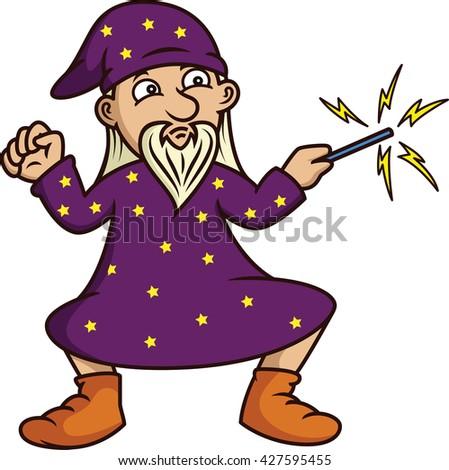 Wizard with Magic Wand Cartoon  - stock vector
