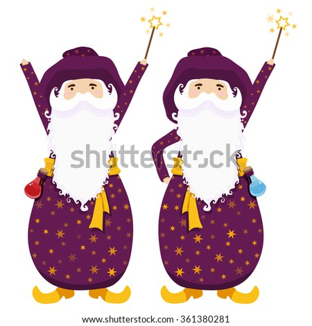 Wizards with magic wands and potions. Vector illustration. - stock vector