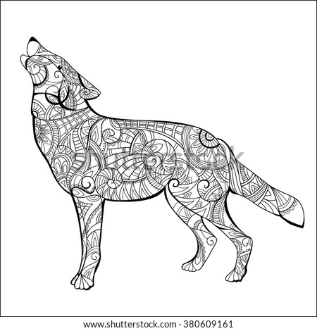 Wolf Coloring Book Page In Exquisite Line Hand Drawn