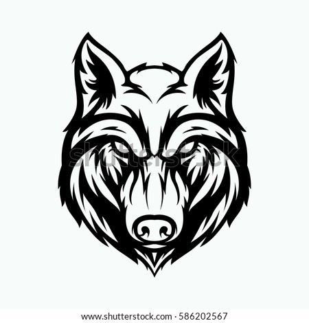 wolf head angry face logo black stock vector 586202567 shutterstock rh shutterstock com wolf head coloring pictures wolf head emblem