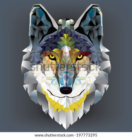 Wolf  head geometric pattern. vector - stock vector
