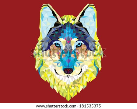 Wolf  head geometric style - stock vector