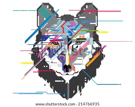 Wolf head in geometric pattern vector - stock vector