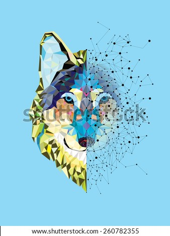 Wolf  head in geometric pattern with star line vector - stock vector