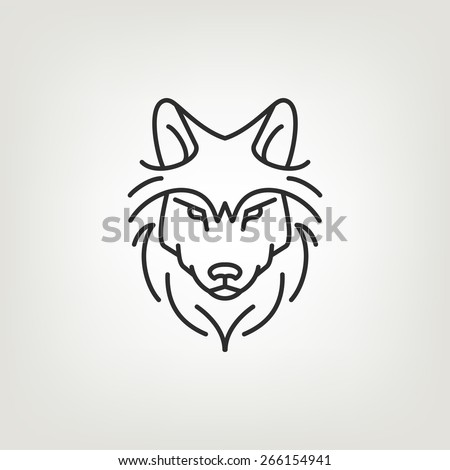 Wolf head logo icon design in mono line style. Dark on light background. - stock vector