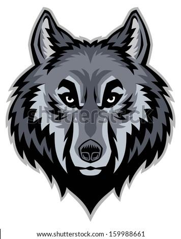 wolf head mascot - stock vector