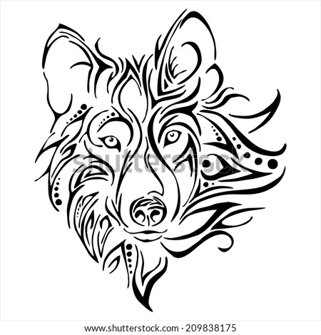 Wolf head tattoo vector - stock vector