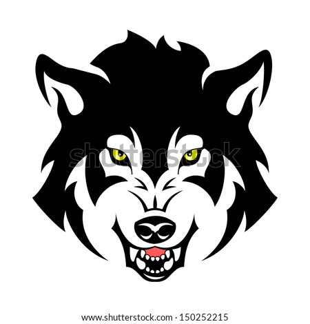 Wolf head tribal emblem illustration for your design - stock vector