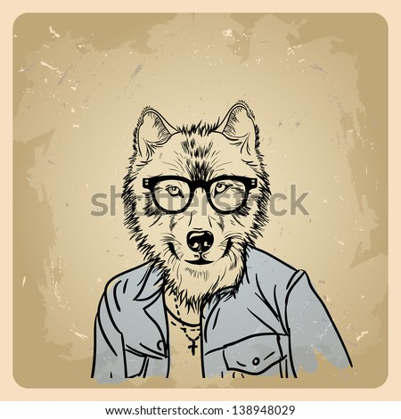 wolf hipster in a jacket on a vintage background - stock vector