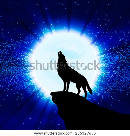 Wolf howling at the moon, vector illustration - stock vector