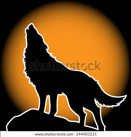 Wolf Howling in the Moonlight - stock vector