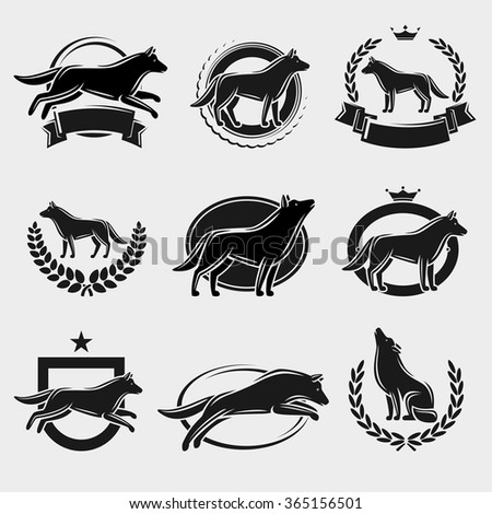 Wolf label and icons set. Vector - stock vector