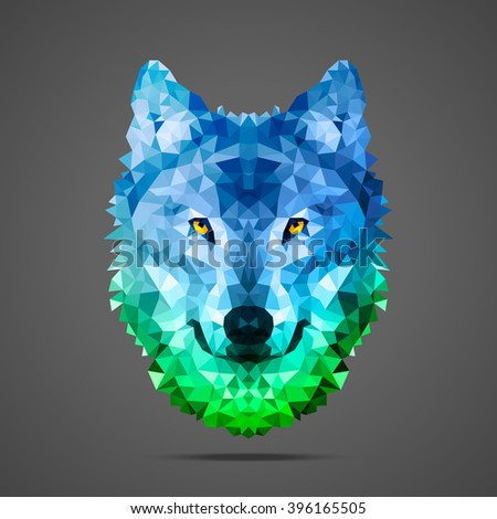 Wolf low poly portrait. Gradient blue - green. Side light source. Abstract polygonal illustration. - stock vector