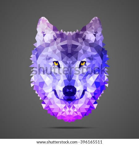 Wolf low poly portrait. Gradient purple. Side light source. Abstract polygonal illustration. - stock vector